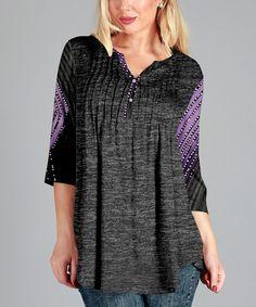 Loving this Gray & Purple Pin Tuck Notch Neck Tunic - Plus on #zulily! #zulilyfinds