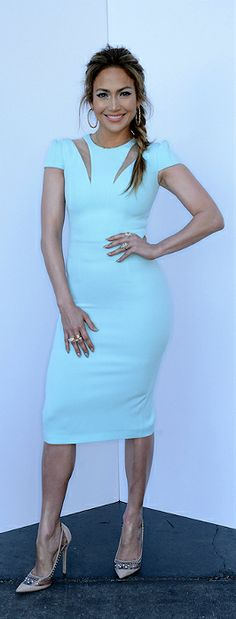 Jennifer Lopez's Safiyaa Cut Out Zip Ice Blue Dress And Jimmy Choo Pumps