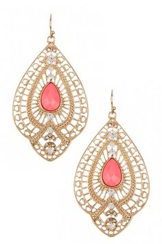 Embellished Teardrop Crystal Earrings by Olivia Welles on @HauteLook. $21.00. Gold is so in and I love the pink center!