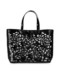NANCY GONZALEZ SEE DETAILS HERE:Black Floral Cutout Crocodile Tote with Clear Vinyl Lining