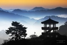 Morning Calm in octagonal pavilion by chan-wook Kim on #500px - #landscape #travel #backlight #silhouette #montains #photography