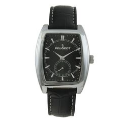 Peugeot Men's 2027BK Black Strap Sweep Dial Watch