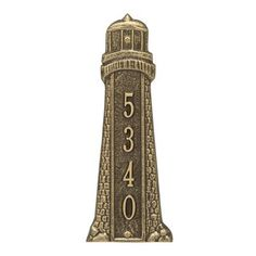 Whitehall Products Lighthouse Personalized Vertical 4-Line Wall Address Plaque Plaque Color: Dark Blue, Font Color: Verdi