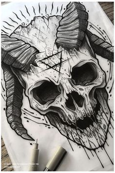 Sketch Style Tattoos, Sketch Tattoo Design, Skull Tattoo Design, Tattoo Sketches, Tattoo Drawings, Dragon Tattoo Sketch, Satanic Tattoos, Scary Tattoos, Skull Tattoos
