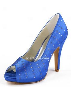Satin Peep Toe Stiletto Heel Pumps Inside Platform Rhinestones Evening Shoes  Colorful Wedding Dresses 49119370c353