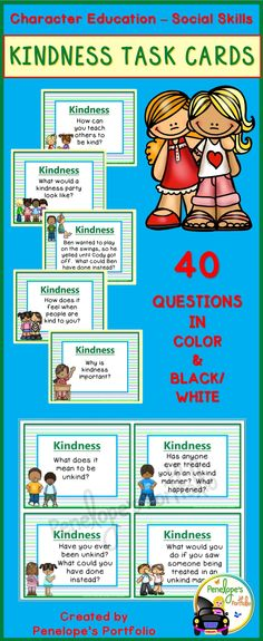 Kindness is an important skill, and these task cards make great additions to any character education or social skills program. They work well with my Kindness Packet, which may be purchased separately. Resources may be used by teachers, school counselors, homeschooling parents, speech therapists, and other specialists.