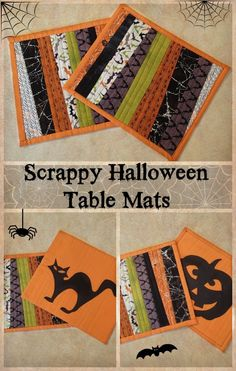 Scrappy reversible Halloween table mats Great way to use jelly rolls or fabric scraps for a scrappy look for these fabulous Halloween placemats. Love the silhouette applique on the back, makes cute Halloween decorations! Halloween Quilts, Halloween Placemats, Halloween Sewing Projects, Halloween Table Runners, Halloween Fabric, Sewing Patterns Free, Quilt Patterns, Sewing Ideas, Sewing Tips