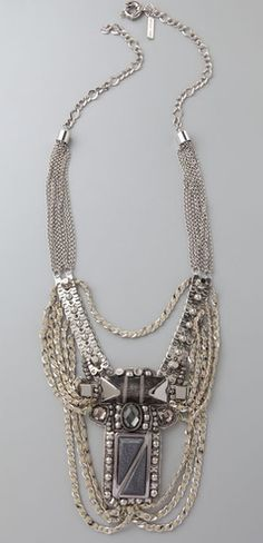 Sachin + Babi silver and stone necklace. Please like http://www.facebook.com/RagDollMagazine and follow @RagDollMagBlog @priscillacita