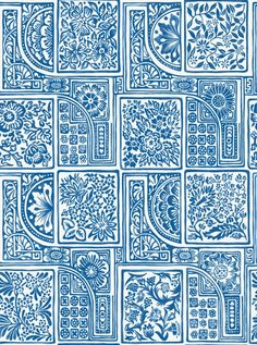 Bellini Wallpaper - A pretty wallpaper featuring a water-coloured arrangement of tiles containing loosely sketched florals and geometrics, printed in China blue on a white ground. The design is named after Vincenzo Bellini, the famous Italian composer.