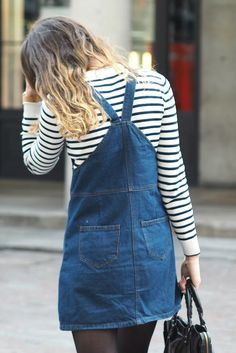 denim, pinafore dress, stripe, simple, casual, dungaree dress, ombre hair, style, fashion