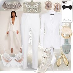Suit Up!!!! #AllWhite by minabellinha on Polyvore featuring Dolce&Gabbana, Michael Kors, For Love & Lemons, Sophia Webster, Accessorize, BIBI VAN DER VELDEN and Casetify