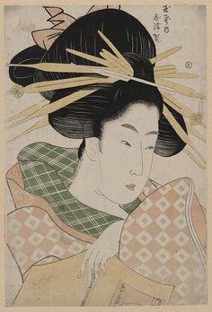 """Tamaya uchi shizuka"" (The Courtesan Shizuka of Tama-ya), Ichirakutei Eisui (act. Cover Design, Japanese Prints, Japanese Poster, Art Japonais, Tropical Art, Japanese Painting, Japan Art, Woodblock Print, Chinese Art"