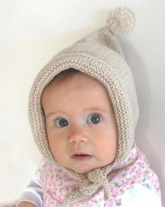 free kids knitted hat pattern | Ella Rose's Pixie Bonnet » Knitting Bee