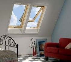 Beautiful idea for a bedroom in the attic space