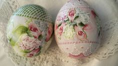 Hand Painted Egg Gourds Easter Cottage Chic Shabby Roses Hydrangeas Lace HP   These are so lovely would be nice in a lace basket.