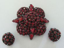 #1634 Warner Jewel Encrusted Deep Red Pin & Earrings Japanned Setting  at Lee Caplan Vintage Collection Exclusively on RubyLane