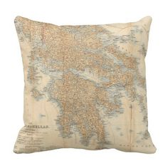 Vintage Map of Greece (1894) Throw Pillow