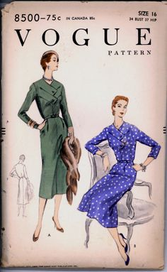 1950s Uncut Front Overlap Bodice Dress Vogue 8500 Bust 34 Size 16 Vintage Sewing Pattern di VintagePatternsCo1 su Etsy https://www.etsy.com/it/listing/218046433/1950s-uncut-front-overlap-bodice-dress