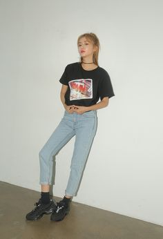 FIRE Print Cropped Tee | STYLENANDA