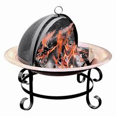 Short Copper Scroll Fire Pit