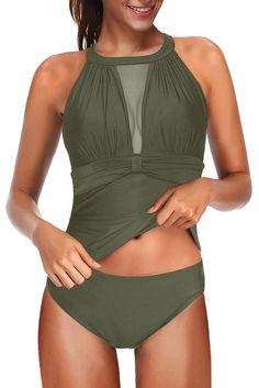 Green High Neck Mesh Ruched Push-up Tankini Swimwear – ModeShe.com