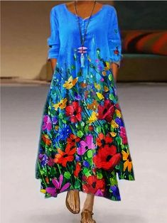 Maxi Dress With Sleeves, Floral Maxi Dress, Boho Dress, Sleeve Dresses, Maxi Dresses, Mode Hippie, Moda Chic, Casual Dresses For Women, Clothes For Women