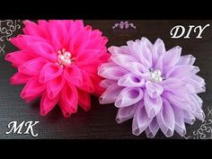 Flowers-bows ✿ from organza. Organza Flowers, Kanzashi Flowers, Lace Flowers, Fabric Flowers, Ribbon Art, Ribbon Crafts, Flower Crafts, Kanzashi Tutorial, Flower Video