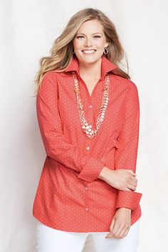 9a3457b822071 Women s Plus Size Pattern Splitneck No Iron Tunic with Turn Back Cuff from  Lands  End