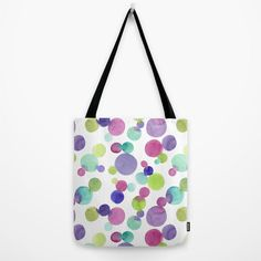 Watercolor tote bag - Magenta, green, blue, purple bubbles - Abstract painting printed on canvas bag - Spring trends, Mother's Day Gifts