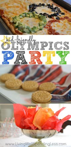 Are you ready for the next Olympics?  Don't miss these awesome ideas for a simple Olympics party, including super easy decorations and kid-friendly food such as Olympic ring pizza, Oreo medals, and torches made from Cheetos.  So cute!