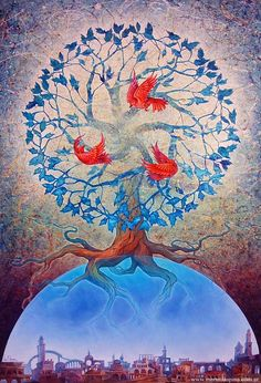 Image result for tree of life entwined with roses painting