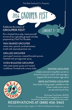 Join us for Grouper Fest! Fresh Oysters, Fresh Seafood, Fish And Seafood, Grilled Grouper, Seafood Company, Fresh Sushi, Fingerling Potatoes, Beer Batter