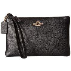 COACH Box Program Small Wristlet (LI/Black) Wristlet Handbags ($75) ❤ liked on Polyvore featuring bags, handbags, clutches, military handbags, military purses, wristlet handbag, wristlet clutches and handbags clutches