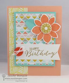 Petal Potpourri Birthday Card with Best Year Ever paper and buttons.  One of 5 cards from the Birthday Card Bash Class-to-go and a stop on a birthday card blog hop. :)