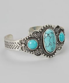 Turquoise & Silver Oval Scroll Cuff