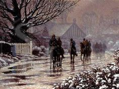 Race Horses in Snow Pack of 10 Christmas Cards 'The Thaw Begins' C254X