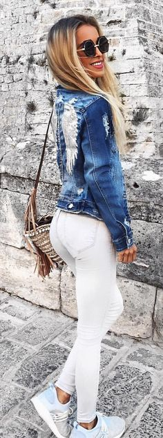 #summer #outfits Embroidered Denim Jacket + White Skinny Jean S + Blue Sneakers