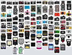 100 Cameras, Lenses, and Accessories Turned into Pixel Illustrations
