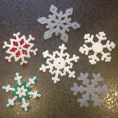 Christmas snowflakes ornaments hama perler by lisanneravn
