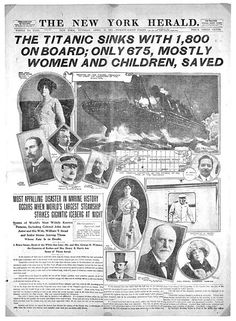 Newspaper report of the sinking of the Titanic. Most reports featured the Astors in the headlines.