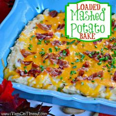 This Loaded Mashed Potato Bake is the perfect side dish AND it can be made in advance! | MomOnTimeout.com
