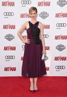 Judy Greer in Bibhu Mohapatra paired with Nicholas Kirkwood pumps and an Edie Parker clutch attends the L.A. premiere of 'Ant-Man'. #bestdressed
