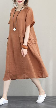 Top Quality Orange Linen Dress Plus Size O Neck Linen Maxi Dress Women Short Sleeve Patchwork Dress - Olivia Maxi Dresses Outfits Plus Size, Dress Plus Size, Linen Dresses, Women's Dresses, Fashion Dresses, Simple Dresses, Casual Dresses, Casual Outfits, Mode Plus