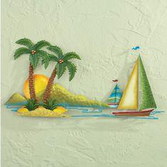 Coastal Island Sailing Wall Art