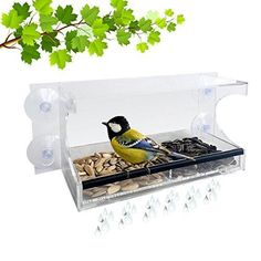 Large Window Bird Feeder Crystal clear100% See Through  Easy to Install Removable feed tray Easy To Refill Or Clean Virtually Squirrel Resistant big discount for suction cup defect