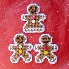 Plastic Canvas: Gingerbread Folks Magnets set of 3 2 Plastic Canvas Christmas, Plastic Canvas Crafts, Plastic Canvas Patterns, Christmas Projects, Christmas Ideas, Xmas, Christmas Ornaments, Halloween Canvas, Candy Buttons