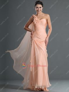 152.00$  Watch here - http://viudp.justgood.pw/vig/item.php?t=ssq9rl45192 - Peach Mermaid One Shoulder Ruffles Chiffon Long Prom Dresses With Watteau Trains