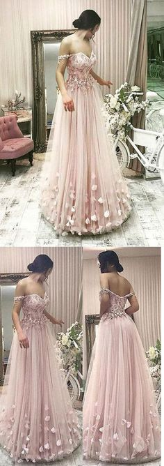 Pink Tulle A Line Off the Shoulder Flowers Long Prom Dress #pink #flower #offtheshoulder #long #prom #okdresses #dressesprom