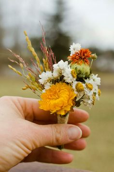 Beautiful golden boutonniere made of dried dried rice, gold strawflower, safflower, flax, red silk grass, and ammobium. Substitutions may be