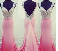 Sexy Mermaid Backless Prom Dresses Straps Floor Length Crystals Party Dresses Made to Measure